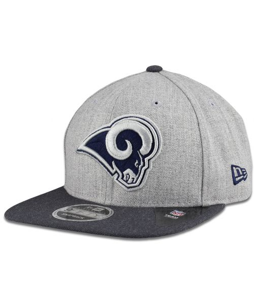 New Era Los Angeles Rams NFL Heather Action 9FIFTY Snapback Hat Heather Gray Graphite Navy Logo