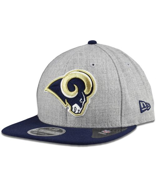 New Era Los Angeles Rams NFL Heather Action 9FIFTY Snapback Hat Heather Gray Navy Blue Gold Outline Logo