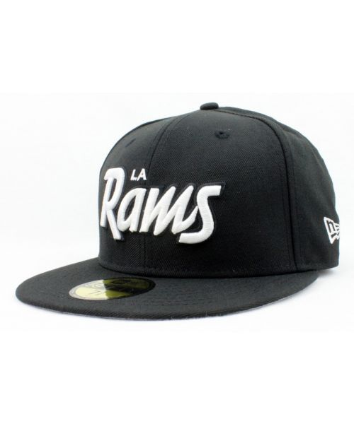 6877f86447c New Era Los Angeles Rams NFL Authentic Script 59FIFTY Fitted Hat Black  White Logo