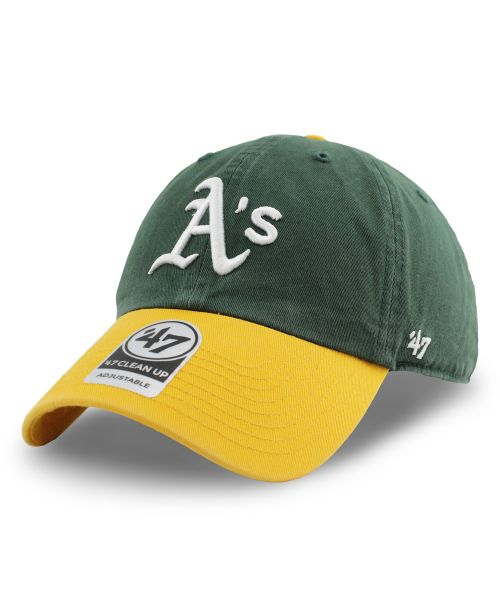 '47 Brand Oakland Athletics MLB Two Tone Clean Up Strapback Hat Green Yellow