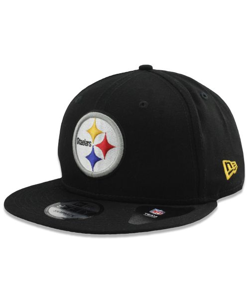 New Era Pittsburgh Steelers NFL Basic Snap OSFM 9FIFTY Snapback Hat Black on Black