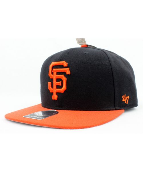 47 Brand San Francisco Giants MLB Authentic Sure Shot 2 Tone Captain Snapback  Hat Black Orange e8dc95e9c430