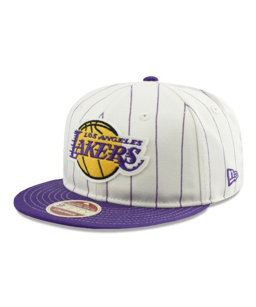 New Era Los Angeles Lakers NBA Heritage Series 9FIFTY Strapback Adult Hat White Purple