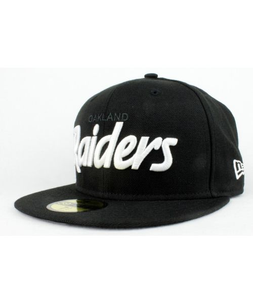 080b4d37f0f New Era Oakland Raiders NFL Authentic Script 59FIFTY Fitted Hat Black