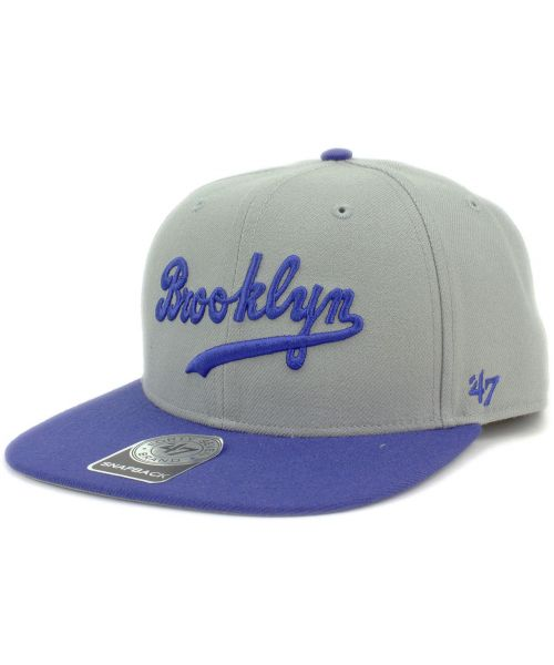 2113caa3404827 '47 Brand Brooklyn Dodgers MLB Sure Shot Snapback Hat Grey Blue
