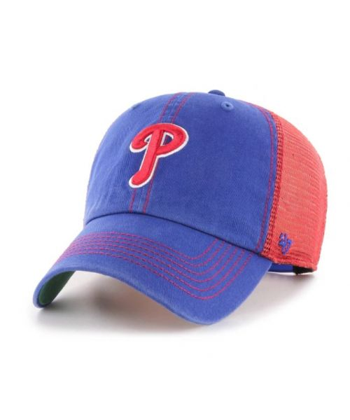 '47 Brand Philadelphia Phillies MLB Clean Up Trawler Trucker Snapback Adult Hat Blue Red