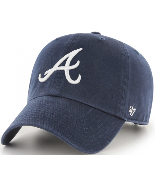 '47 Brand Atlanta Braves MLB Clean Up Adjustable Strapback Hat Navy Blue