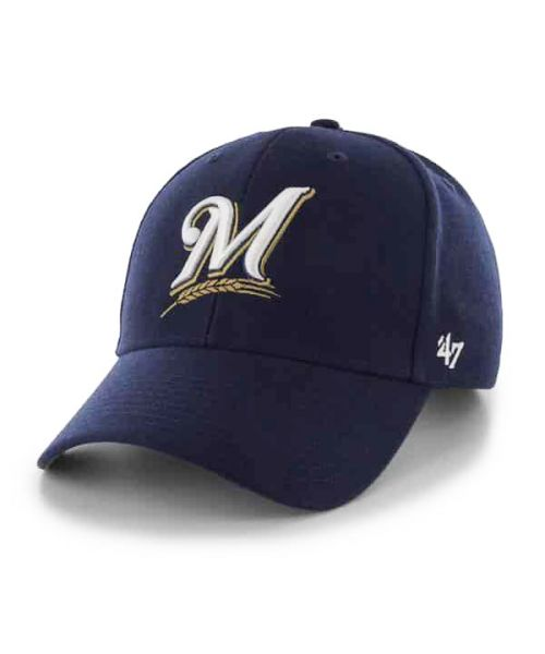 '47 Brand Milwaukee Brewers MLB MVP Adjustable Adult Hat Navy Blue