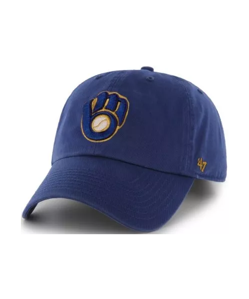 '47 Brand Milwaukee Brewers MLB Clean Up Strapback Hat Blue