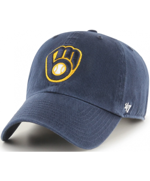 '47 Brand Milwaukee Brewers MLB OSF Clean Up Strapback Hat Navy Blue