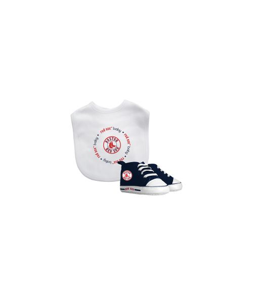 Baby Fanatic Boston Red Sox MLB Authentic Bib and Prewalkers Set White Red Navy Blue