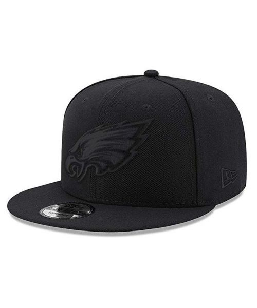New Era Philadelphia Eagles NFL Basic Snap 9FIFTY Snapback Hat Black On Black