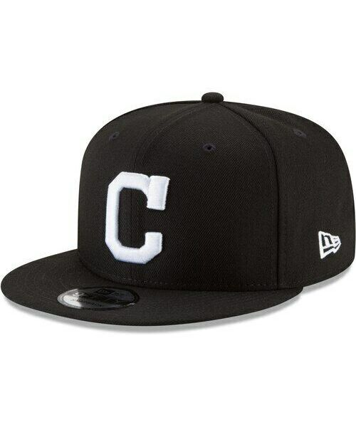 New Era Cleveland Indians MLB Basic Snap OSFA 9FIFTY Snapback Hat Black White Logo