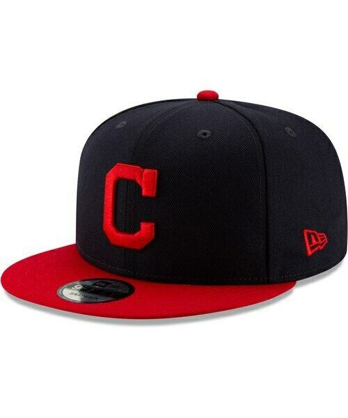 New Era Cleveland Indians MLB Basic Snap OTC 9FIFTY Snapback Hat Navy Blue Red