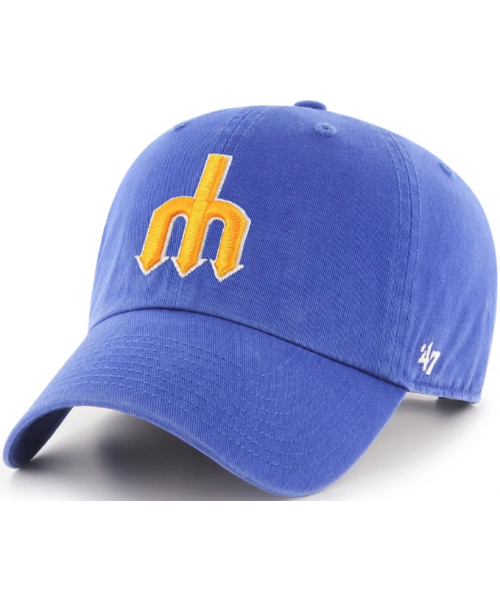 '47 Brand Seattle Mariners NBA Cooperstown Clean Up Adjustable Strapback Hat Blue