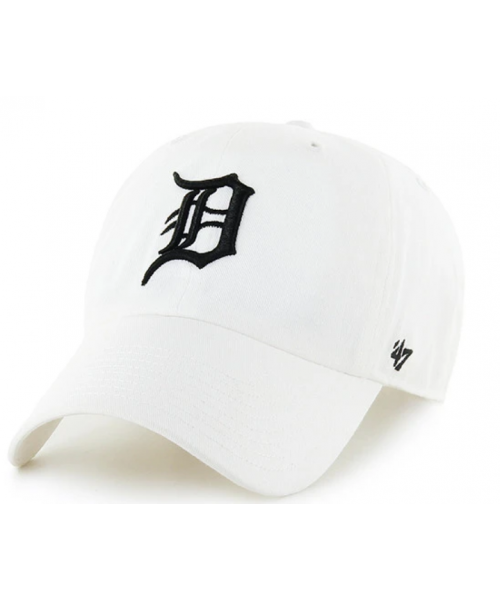 '47 Brand Detroit Tigers MLB Clean Up Strapback Hat White Black Logo