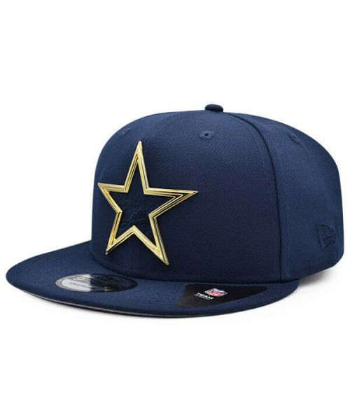 New Era Dallas Cowboys NFL Metal Thread Pattern 9FIFTY Snapback Hat Navy Blue Gold Logo