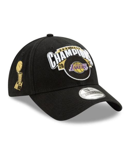 New Era Los Angeles Lakers NBA 2020 Finals Champions Locker Room 9TWENTY Strapback Adult Hat Black