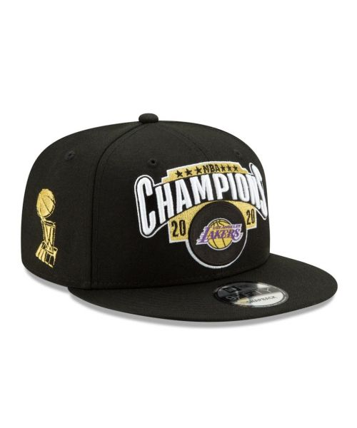 New Era Los Angeles Lakers NBA 2020 Finals Champions Locker Room 9FIFTY Snapback Adult Hat Black