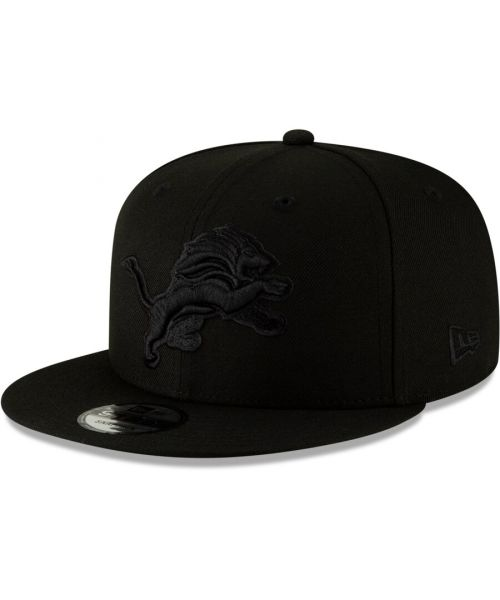 New Era Detroit Lions NFL Basic Snap OSFA 9FIFTY Snapback Hat Black on Black