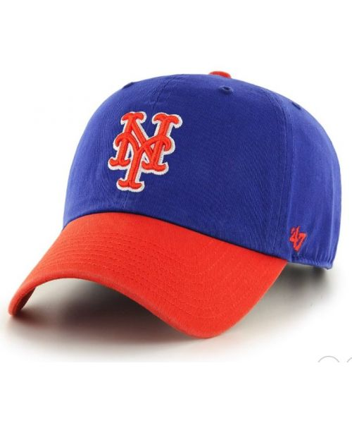 '47 Brand New York Mets MLB Clean Up Strapback Hat Blue Orange