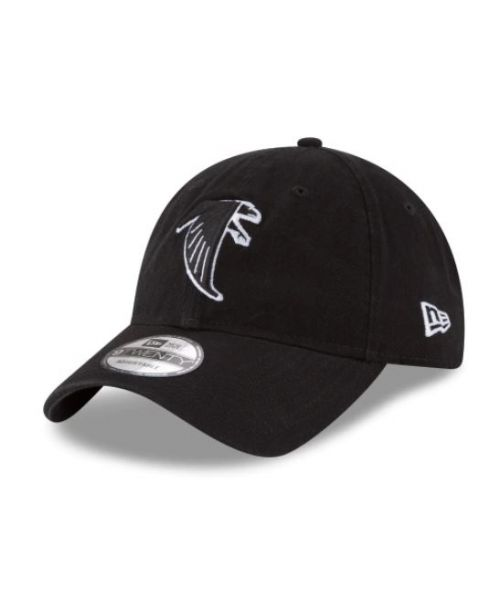 New Era Atlanta Falcons NFL Core Classic 9TWENTY Adjustable Adult Hat Black On Black White Outline