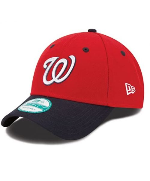 New Era Washington Nationals MLB The League 9FORTY Adjustable Adult Hat Red Dark Navy