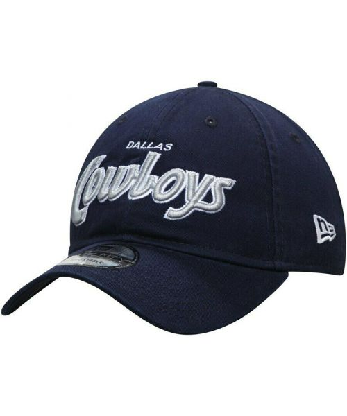 New Era Dallas Cowboys NFL Retro Script 9TWENTY Adjustable Adult Hat Navy Blue
