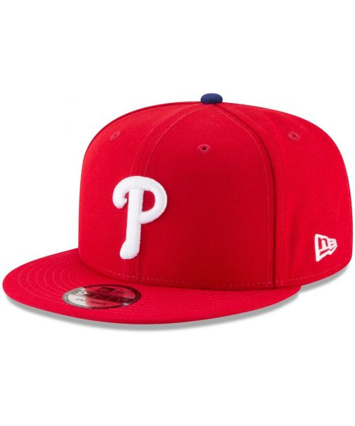New Era Philadelphia Phillies MLB Basic Snap OTC 9FIFTY Snapback Hat Red White Logo