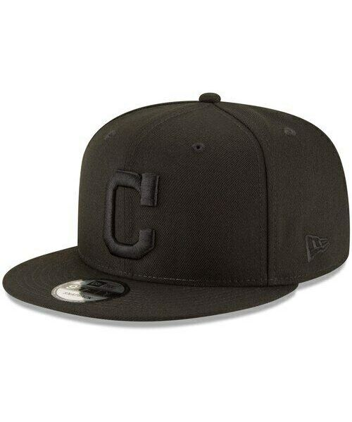 New Era Cleveland Indians MLB Basic Snap OSFA 9FIFTY Snapback Hat Black on Black
