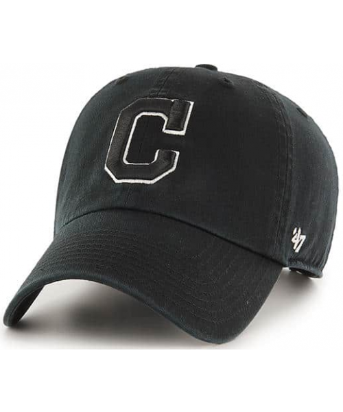 '47 Brand Cleveland Indians MLB Clean Up Adjustable Strapback Hat Black White Outline Logo