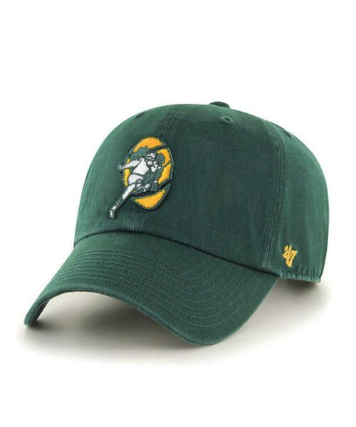'47 Brand Green Bay Packers NFL Clean Up Throwback Logo Adjustable Adult Hat Green
