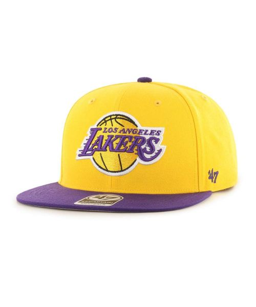 '47 Los Angeles Lakers NBA No Shot Two Tone Captain Adjustable Snapback Hat Gold Purple