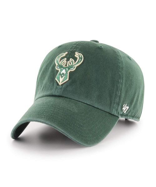 '47 Brand Milwaukee Bucks NBA Clean Up Strapback Hat Green