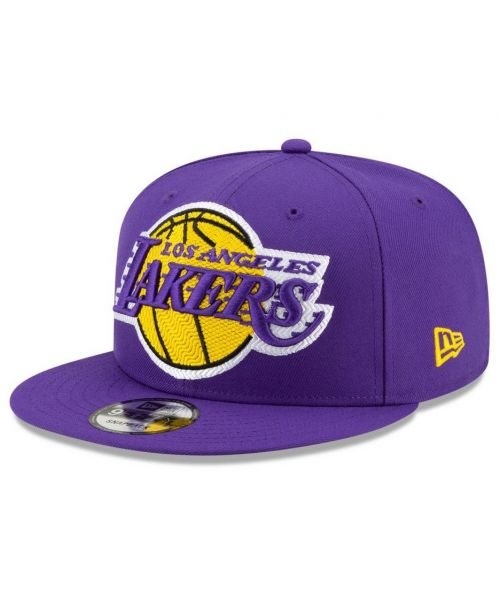 New Era Los Angeles Lakers NBA Threads Logo 9FIFTY Snapback Hat Purple