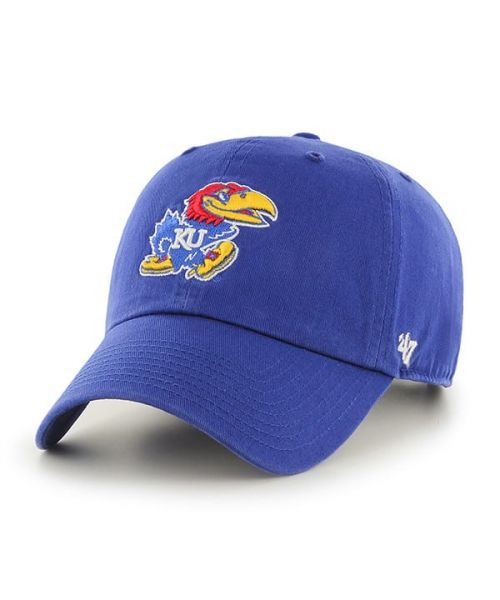 47' Brand Kansas Jayhawks NCAA Clean Up Strapback Adjustable Hat Blue