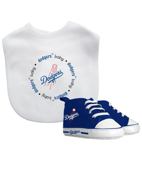Baby Fanatic Los Angeles Dodgers MLB Authentic Bib and Prewalkers Set White Royal Blue