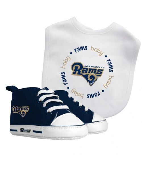 Baby Fanatic Los Angeles Rams NFL Authentic Bib and Prewalkers Sets White Navy Blue