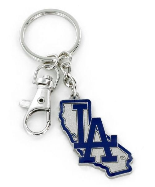 Aminco Los Angeles Dodgers MLB Authentic Heavyweight Metal State Design Keychain Blue