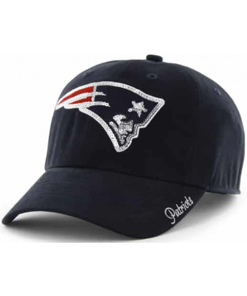 '47 Brand New England Patriots NFL Clean Up Sparkle Logo WOMENS Strapback Hat Navy