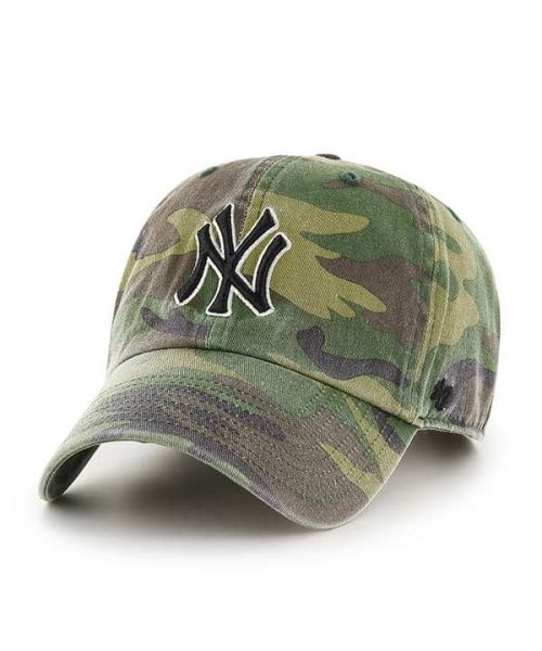 '47 Brand New York Yankees MLB Clean Up Adjustable Adult Hat Green Camo