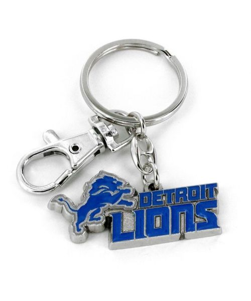 Aminco Detroit Lions NFL Heavyweight Metal Team Logo Keychain Light Blue