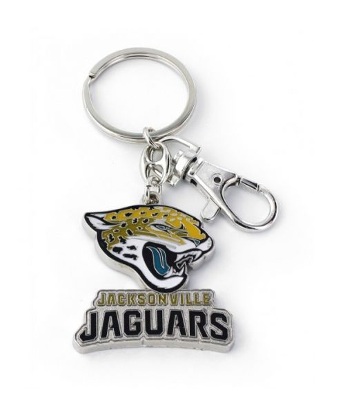 Aminco Jacksonville Jaguars Authentic NFL Heavyweight Metal Team Logo Keychain Teal Black Yellow