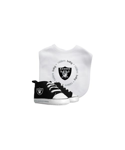 Baby Fanatic Oakland Raiders NFL Authentic Bib and Prewalkers Set White Black