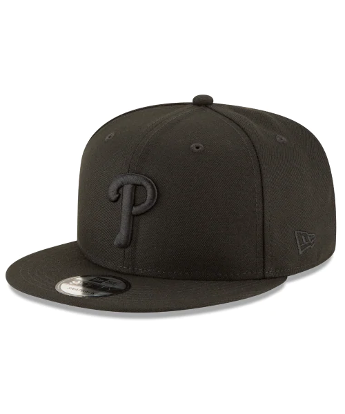 New Era Philadelphia Phillies MLB Basic Snap 9FIFTY Snapback Hat Black on Black