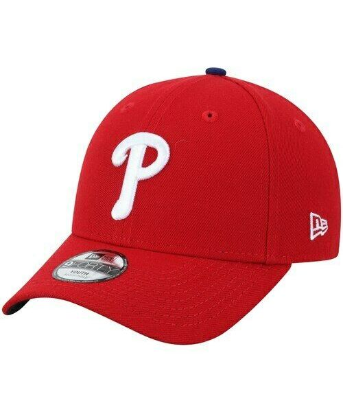 New Era Philadelphia Phillies MLB The League YOUTH 9FORTY Velcroback Hat Red White Logo