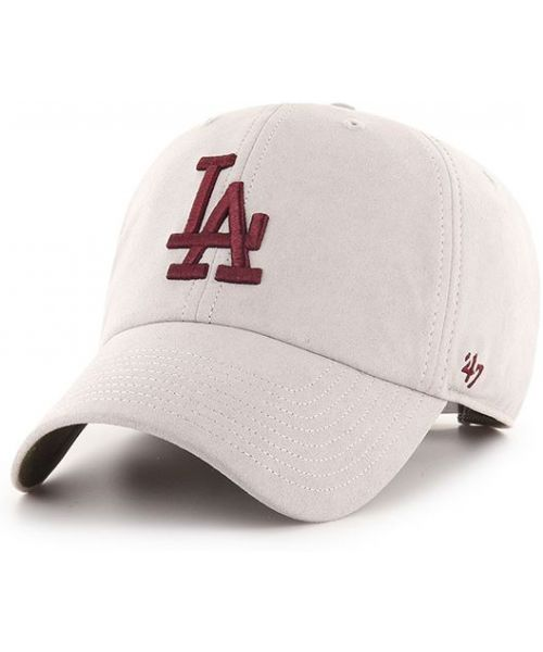 '47 Brand Los Angeles Dodgers MLB Low Suede Clean Up Hat Light Grey Maroon Logo
