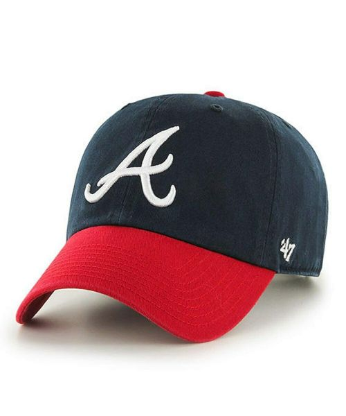 '47 Brand Atlanta Braves MLB Clean Up Strapback Hat Navy Blue Red
