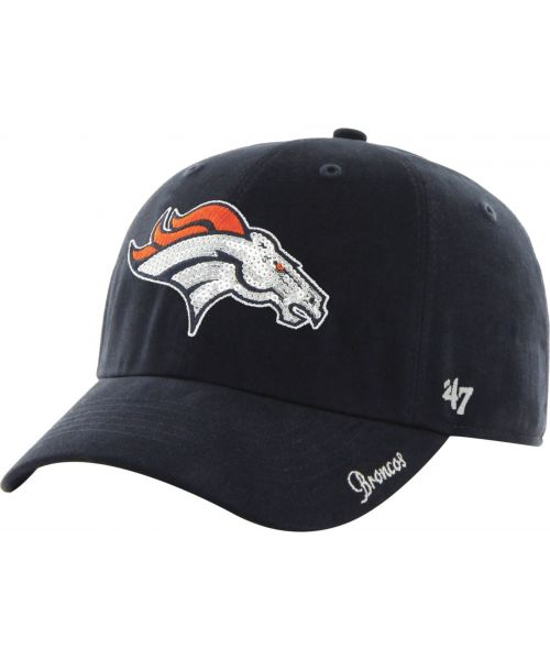'47 Brand Denver Broncos NFL Clean Up Sparkle Logo WOMENS Strapback Hat Navy Blue