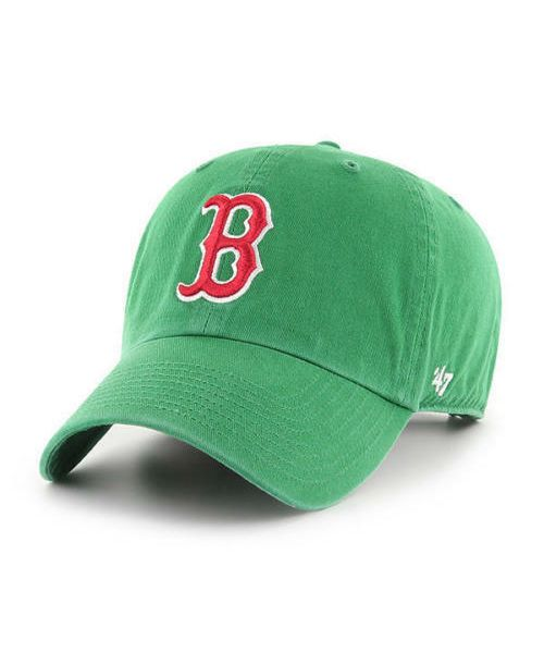 '47 Brand Boston Red Sox MLB Clean Up Adjustable Strapback Hat Green Red Logo